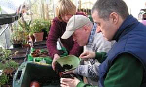 An older man with Down's Syndrome learns to pot seedlings.