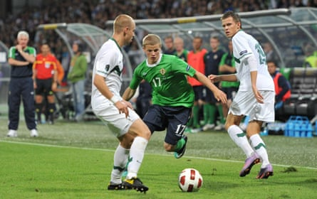 Gorman in action for Northern Ireland against Slovenia in a Euro 2012 qualifier.