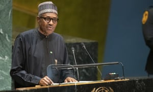 Nigerian president Muhammadu Buhari addresses the 74th session of the United Nations general assembly at UN headquarters