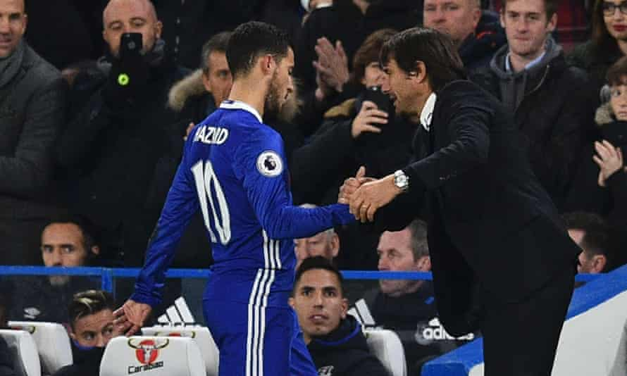 Hazard, seen here leaving the field after tormenting Everton, has thrived under the tutelage of his latest manager at Chelsea, Antonio Conte.