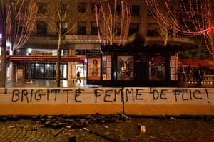 """""""Brigitte wife of a policeman"""" refering to Macron's wife is sprayed on the Champs Elysees."""