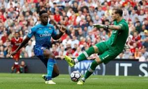 Loris Karius's only problems against Arsenal were of his own making, as Liverpool's second-choice goalkeeper dawdled on the ball and was closed down.