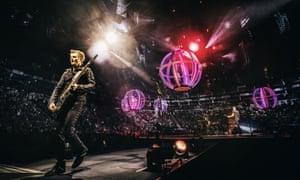 Tantalising transition period … Matt Bellamny and Muse at the O2 Arena, London.