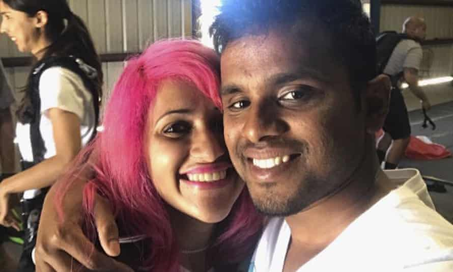 This photo obtained from Facebook posted in June 2017 shows a selfie of Vishnu Viswanath, right, and his wife Meenakshi Moorthy.