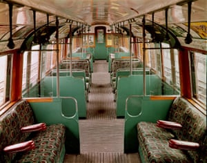 Joy Jarvis's tube moquette in a refurbished London Transport Museum train from 1938