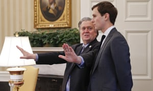 Donald Trump's advisers Steve Bannon, left, and Jared Kushner exercise considerable influence over US foreign policy.
