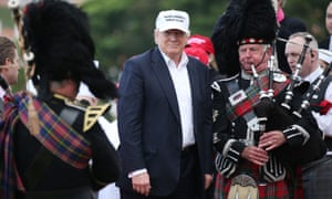 Defining moment … Donald Trump's visit to his Trump Turnberry golf course in Scotland on 24 June this year, where protesters carrying placards dubbing him a 'bawbag' demonstrated outside.
