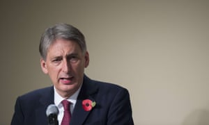 UK foreign secretary Philip Hammond speaking on energy and climate policy at the American Enterprise Institute in Washington, DC.
