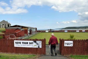 A man arrives to cast his vote in the EU referendum, at Maidens Bowling Club in South Ayrshire, Scotland