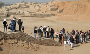 Visitors at the archeological site of Mohenjo-daro in Sindh province, Pakistan