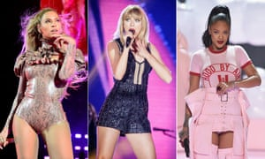 Synchronized singers: Beyonce, Taylor Swift and Rihanna