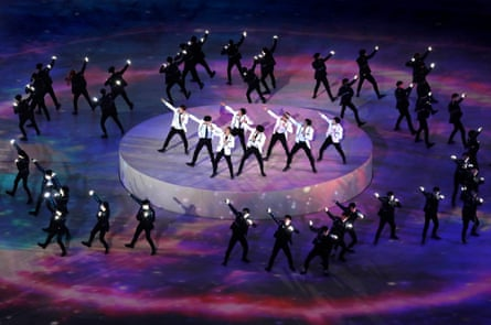 EXO perform during the closing ceremony of the 2018 Winter Olympics in Pyeongchang.