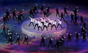 EXO performing during the closing ceremony