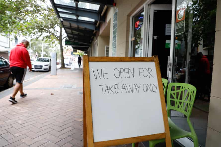 A sign out the front of a restaurant in Surry Hills after pubs, clubs and cafes were closed for dining in.
