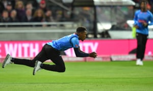 Sussex Sharks' Chris Jordan takes the catch of Worcestershire Rapids' Ross Whiteley.