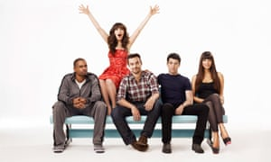 New Girl cast in 2011: Damon Wayans Jr, Zooey Deschanel, Jake Johnson, Max Greenfield and Hannah Simone