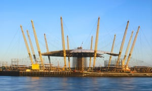 The Millennium Dome during construction.