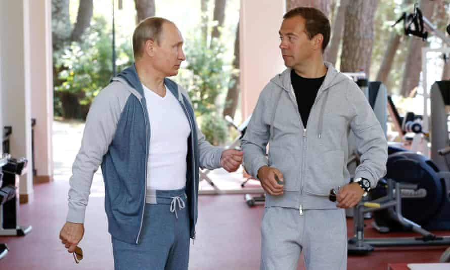 Putin and Medvedev at gym