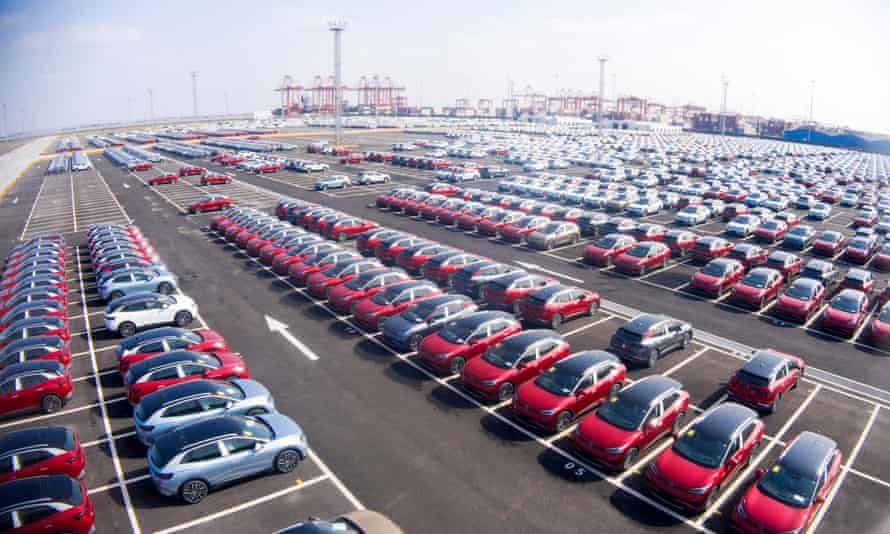 A car park full of electric cars at a port in China