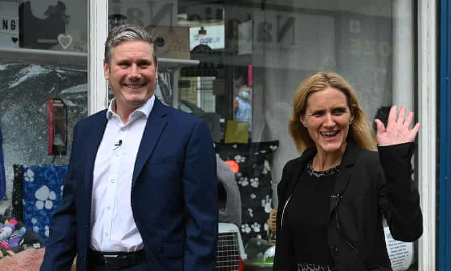 Labour leader Keir Starmer and MP Kim Leadbeater celebrate her victory in the Batley and Spen byelection.