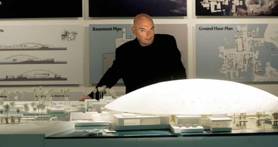 Darling of the Gulf monarchs … Jean Nouvel with a model of his Louvre Abu Dhabi.