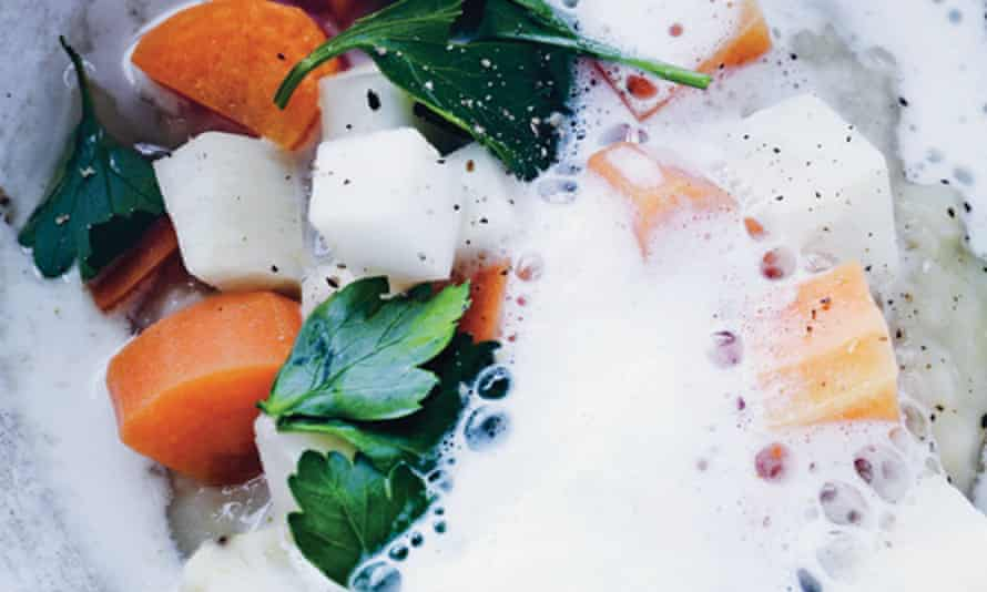 Fish soup with root vegetables and broad bean mash