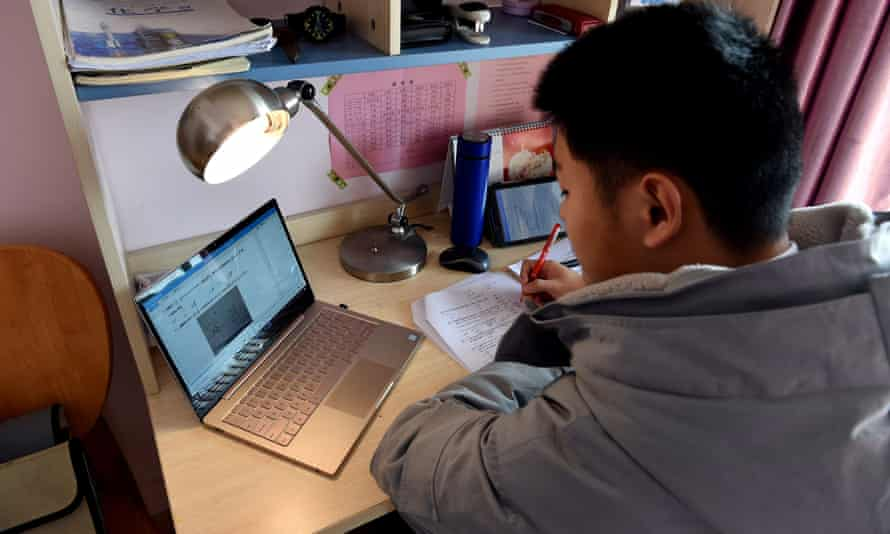 Chinese students have been forced to study at home by the coronavirus outbreak.