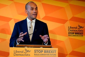 Liberal Democrats Chuka Umunna helps unveil his party's plan for Equalities and Human Rights in London on Thursday.