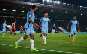 Agüero celebrates after his - or maybe Tyrone Mings' - goal.