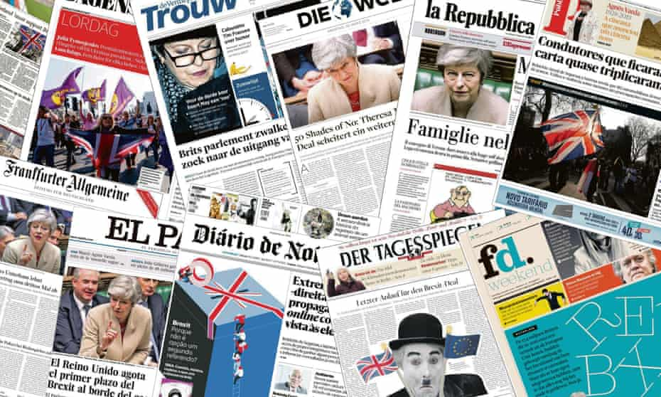 European newspapers' front pages.