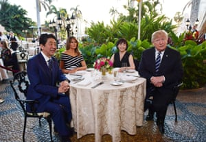 Shinzō Abe, Melania Trump, Akie Abe and Donald Trump