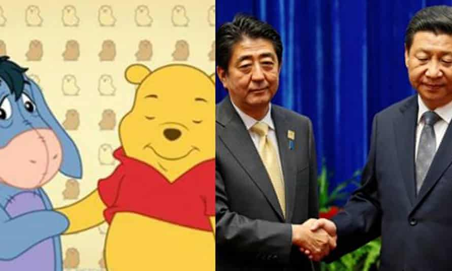 AA Milne's characters Eeyore and Winnie the Pooh were compared to Japan's prime minister, Shinzo Abe, and China's President Xi Jingping.