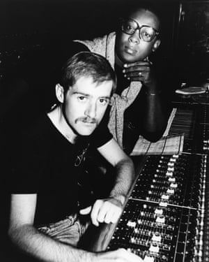 Mighty Real: Sylvester and Patrick Cowley pose for a portrait at the mixing board in a recording studio in circa 1980. (Photo by Michael Ochs Archives/Getty Images)