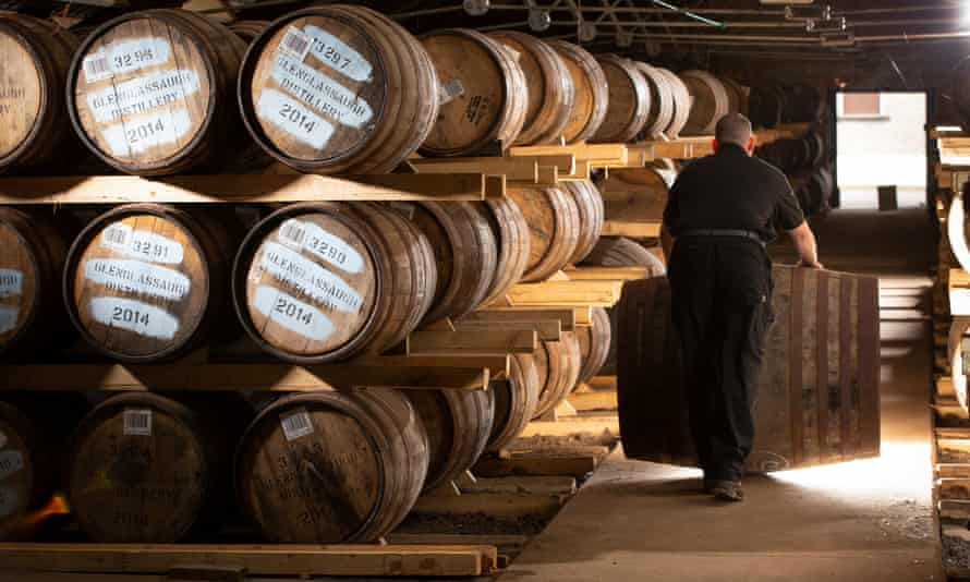 Barrels and casks in a warehouse at Glenglassaugh in Portsoy, Scotland