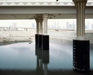 In his fantasy world, General Electric have just announced the appearance of a new energy source using hydrogen extracted from seawater. He says: 'The pictures illustrate my fantasy of a future when we are no longer reliant on oil'