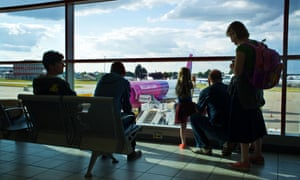 Passengers awaiting to board a Wizz Air flight to Budapest from Luton.