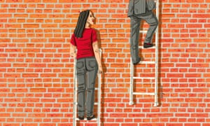 Illustration of woman on ladder falling behind pinstriped man on ladder by Eva Bee