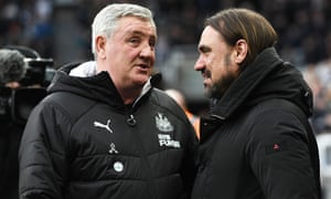 Many felt Newcastle would struggle under Steve Bruce (left) while Norwich and Daniel Farke (right) have fared less well than the other promoted sides.