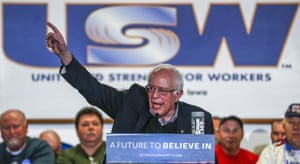 Bernie Sanders at a steelworkers union hall in Des Moines, Iowa.