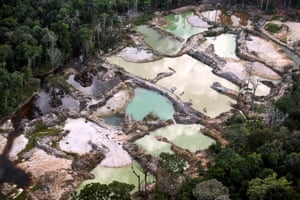 Illegal gold mine approximately 100 miles north of Macapa, Brazil