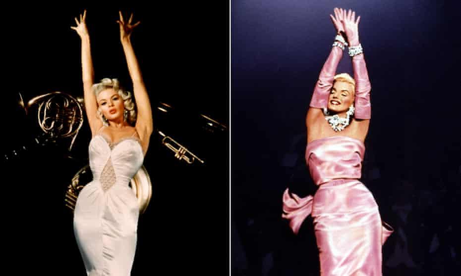 Hollywood prefers blondes: Jayne Mansfield (left) and Marilyn Monroe.
