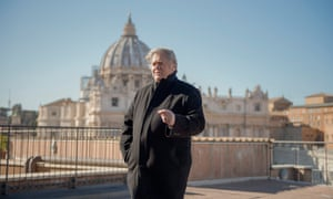 Former White House strategist Steve Bannon on a terrace overlooking St Peter's Square at the Vatican.