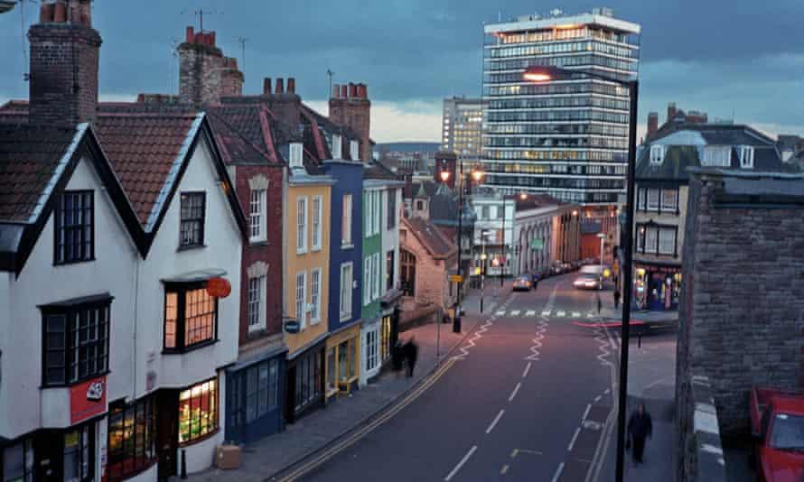 Colston Street at dusk.