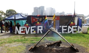 """""""Sovereignty never ceded"""", a 2015 photograph of the Redfern Tent embassy, hangs in the Art gallery of NSW."""