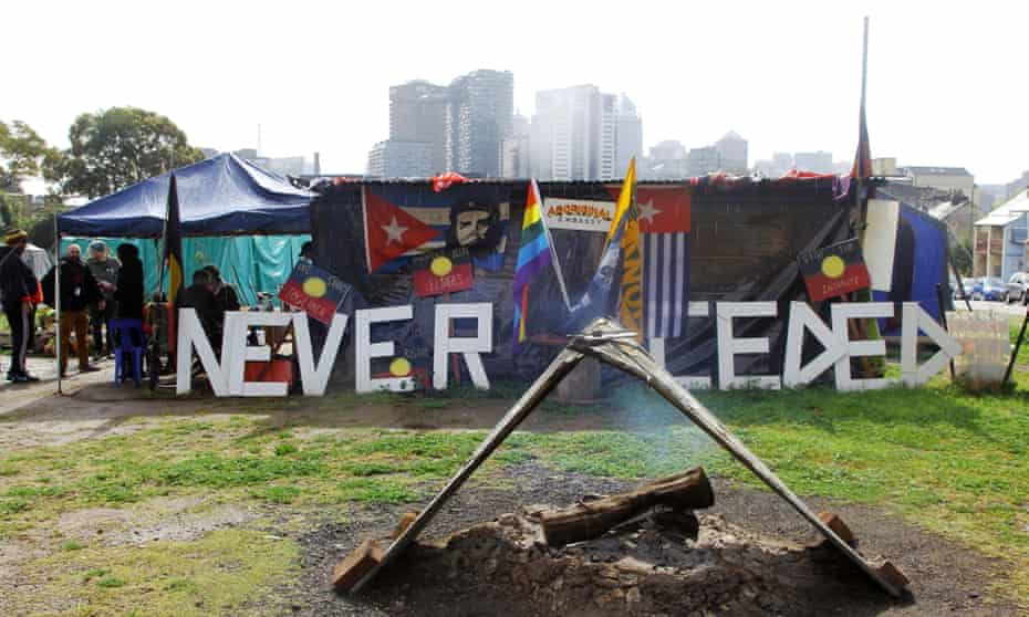 """Sovereignty never ceded"", a 2015 photograph of the Redfern Tent embassy, hangs in the Art gallery of NSW."