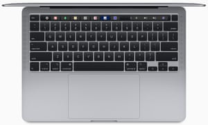 apple 13in macbook pro laptop keyboard from above