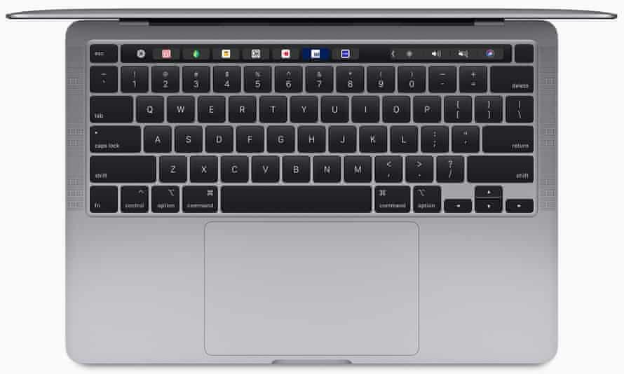 apple 13in macbook pro laptop keyboard from above