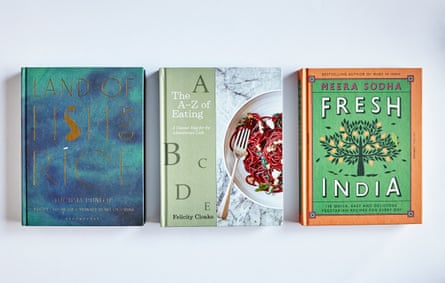 Books by Fuchsia Dunlop, Felicity Cloake and Meera Sodha.