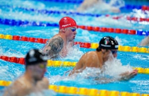 Great Britain's Adam Peaty during the men's 4x100m medley relay final, in which they won silver.
