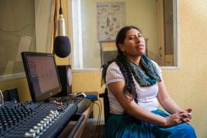Yolanda Mamani Mamani, 30, at Deseo radio station in La Paz